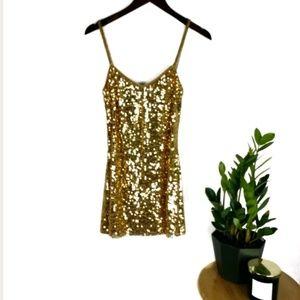 Zara evening collection gold sequin tunic tank top